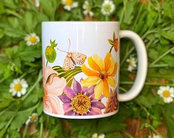 Autumn Florals Ceramic Mug (Zinnias, Dahlias, Pomegranate, Moth)