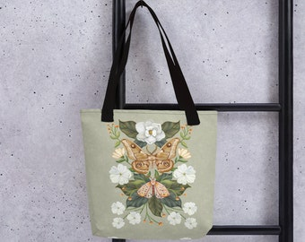 A Stylish Tote bag with an Illustration of Moths and Magnolias by Olga Akbarova