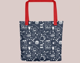A Trendy Tote Bag with a Coffee Gear Pattern Dark Blue with Red Straps (Espresso, Barista, Caffeine, Eco)
