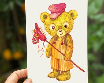 Baby Teddy Bear with a Stick Horse Vintage Toy Postcard