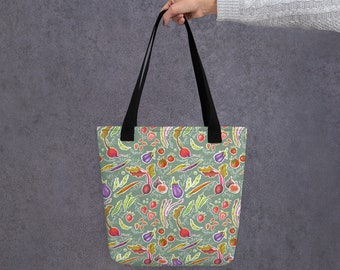 A Tote bag with Fresh veggies and fruits on it (based on illustrations by Olga Akbarova: strawberry, figs, asparagus, tomatoes, beans)