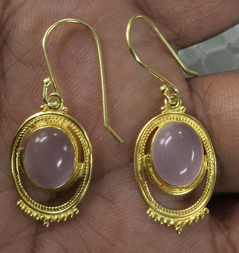 Rose Quartz Oval Handmade Design 925 Sterling Silver 18 crt Gold Plated Earring,Pink Stone Earring,Handmade Earring,Cab Stone Earring Silver