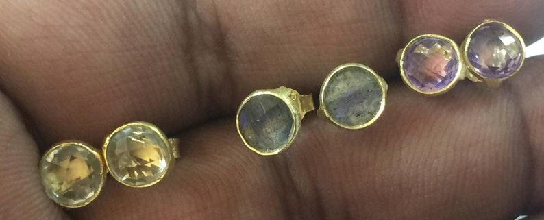 6MM Round Stud Labradorite,Brazil Amethyst,Green Amethyst 6MM Round Basel Setting Matt Finish 925 Sterling Silver 18 crt Gold Plated Stud