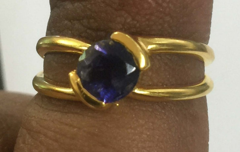 Iolite Round Cut Stone two Band 925 Sterling Silver 18 crt Gold Plated Ring Handmade Cut Stone Ring silver Iolite Cut Ring Cut Stone Ring