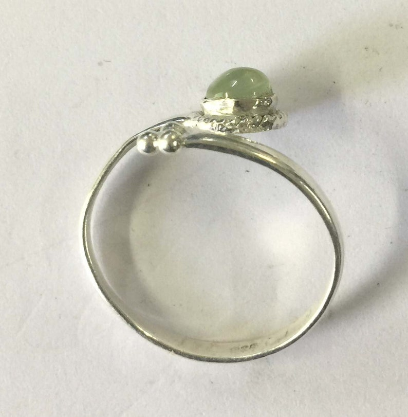 5MM Round Prehnite Cabochon Stone Adjustable 925 Sterling Silver Ring