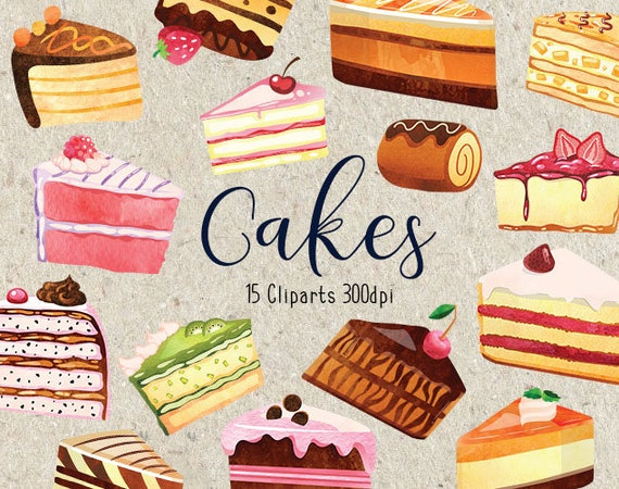 Astonishing Watercolor Slice Cake Clipart Collection Birthday Cakes Etsy Funny Birthday Cards Online Drosicarndamsfinfo