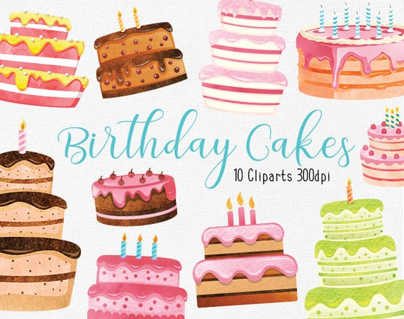 Incredible Watercolor Birthday Cake Clipart Collection Happy Birthday Etsy Funny Birthday Cards Online Sheoxdamsfinfo
