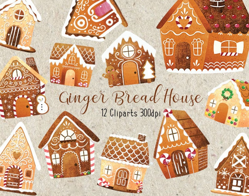 Watercolor Ginger Bread House Cookies Collection Christmas Tree Winter Chocolate Celebration Home Gift Sweet Clip Art Png Commercial Use