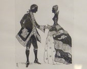 Vintage Artist Signed Courting Couple Period Dress Silhouette Framed and Under Glass Columbia MO Framers Label