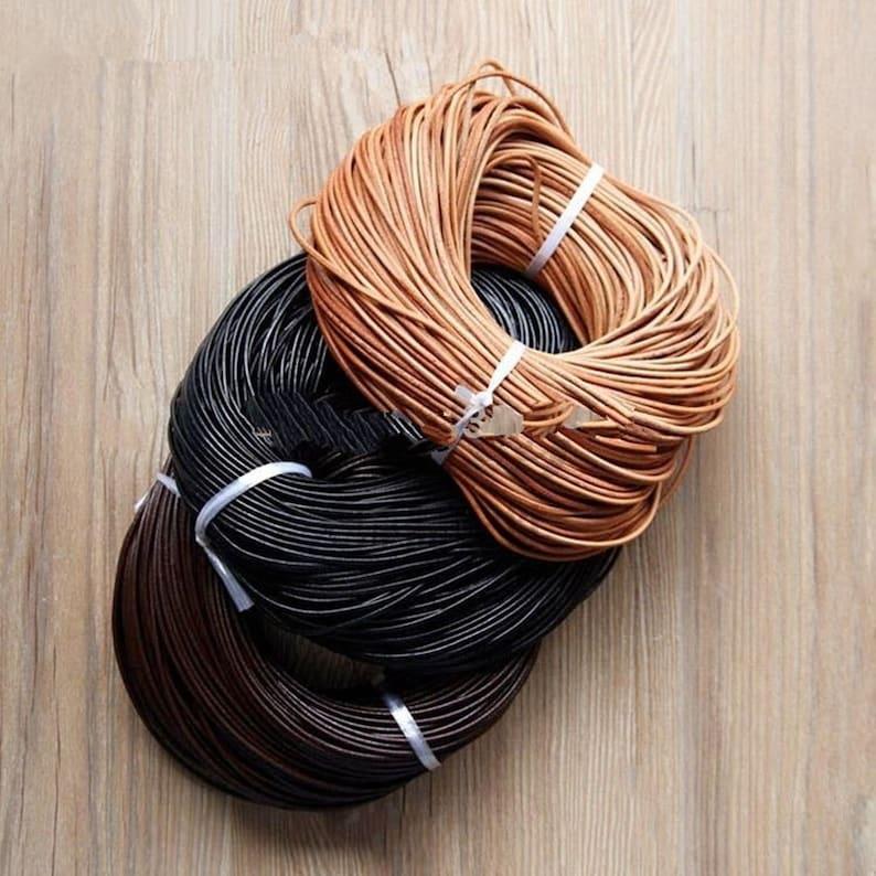 black, 5meters 5.0mm Black flat flat leather rope bracelet necklace jewelry made 5 meters
