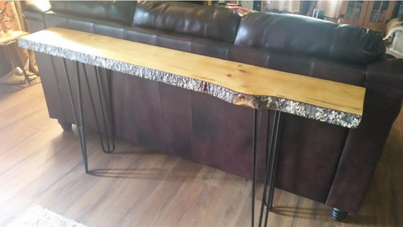 Surprising Live Edge Bark Pine Console Table With Steel Hairpin Legs Sofa Table Entryway Table Machost Co Dining Chair Design Ideas Machostcouk