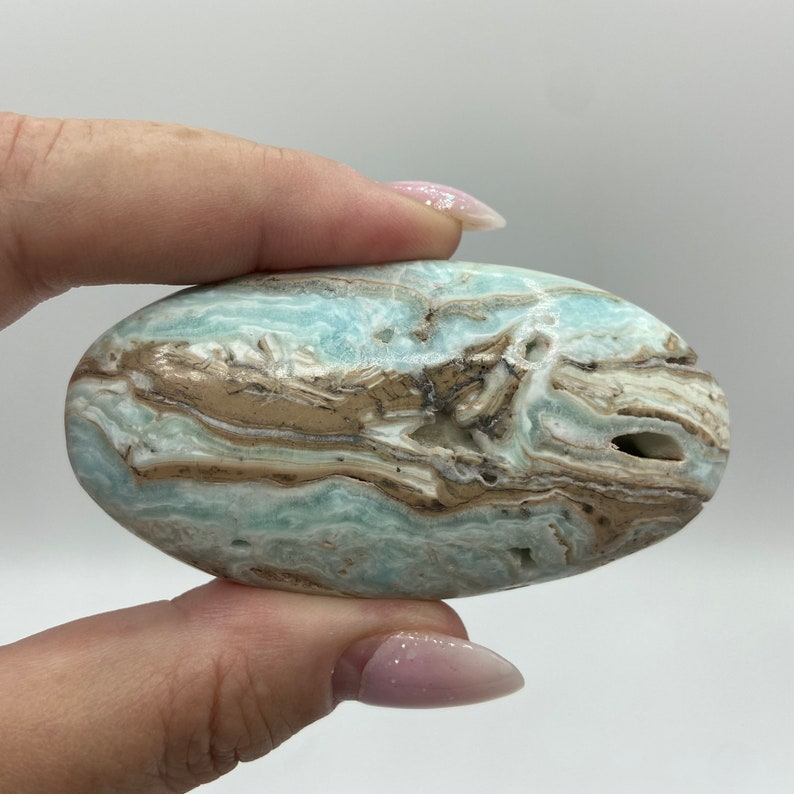 3.02\u201d Blue Aragonite Palm Stone #BAPS-24 Reiki Gemstone Blue Aragonite Palm Stone Metaphysical Spiritual Meditation Crystal Chakras