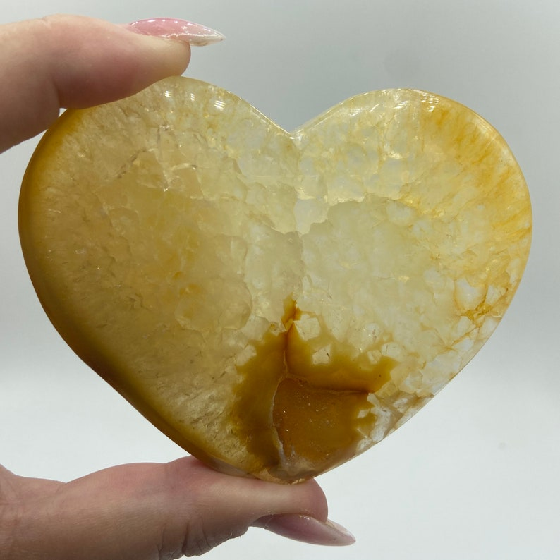 Crystal Heart Gemstone Agate Druzy Heart #CDALH-02 3.70\u201d Druzy Agate Large Heart