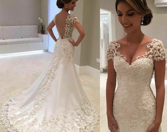 ccd9f7b0b34c Romantic Beads Lace Mermaid Wedding Dresses Short Sleeve Bridal Gown White  Ivory