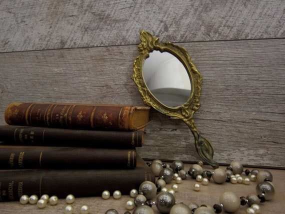 Early 20th century hand mirror, Antique brass mir… - image 1