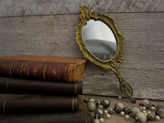 Early 20th century hand mirror, Antique brass mir… - image 6