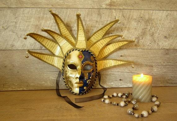 Original Vintage Hand painted Venetian Mask, Golde