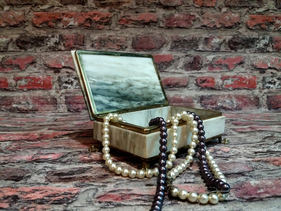 Vintage jewelry box, Jewelry storage, Marble jewel
