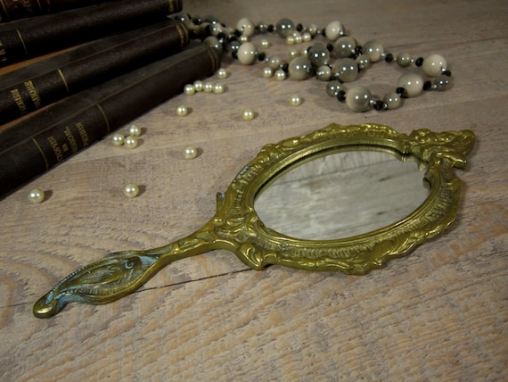 Early 20th century hand mirror, Antique brass mir… - image 2