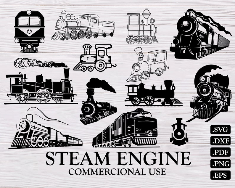 STEAM ENGINE SVG, steam engine, train svg, locomotive svg, steam train,  train silhouette, Silhouette, Files for Cricut, train clipart, dxf