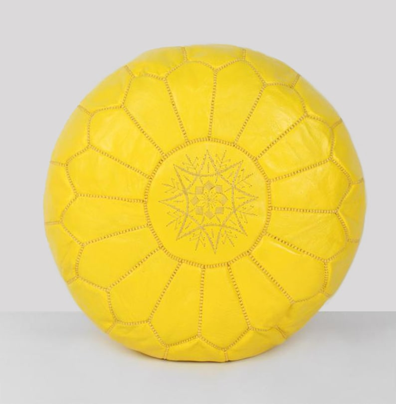 Tremendous Yellow Moroccan Pouf Leather Luxury Ottomans Footstools Leather Pouf Handmade Pouf Genuine Leather Artisan Pouf Theyellowbook Wood Chair Design Ideas Theyellowbookinfo