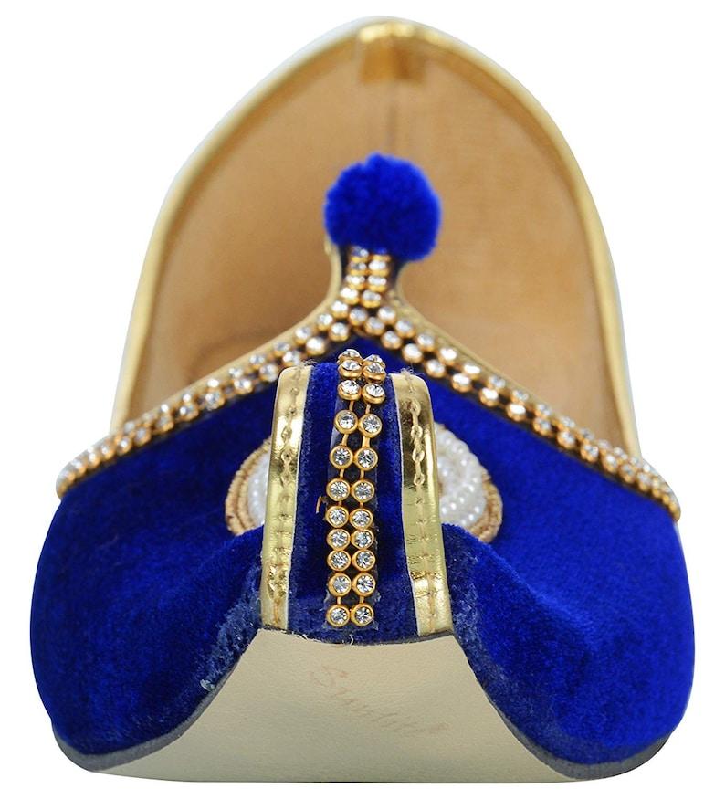Handmade Mojari  Men/'s Blue Velvet Rhinestone Ruby Mojaris A