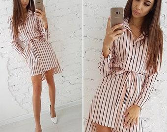 b1144df7a0e Women 2018 Stripped button Shirt Dress Vacation Bohemian Beach Dress