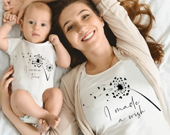 Mommy and Me outfits Mommy and Baby matching shirt , I made a wish I came true Wishes, outfit , New Mom Gift , Baby Shower , New Baby , set