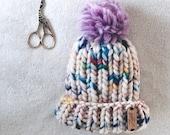 Luxury Knit Beanie   The Melrose Beanie   Blue Pom   100% Highland Peruvian Wool   Baby size 6-9 months   Knit Beanie