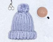 Luxury Knit Beanie   The Aurora Beanie   Hand made Pom   Soft Lilac    Adult Size   Chunky Knit hat