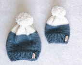 Mom & Me Set with hand made Pom   The Snow Peak Beanie   Grey   Natural   Knit Beanie