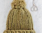Luxury Knit Beanie | The Aurora Beanie | Chunky Knit Beanie | Hand made Pom | Moss Green | Adult Size | Chunky Knit hat