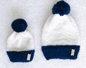 Mom & Me Set  with hand made Pom   The Trafalgar Beanie   Navy Blue Pom   Navy Blue Brim    Knit Beanie