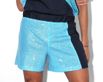 Blue Asymmetrical Sequin Shorts