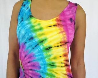 festival vest large women/'s vest eco tie dye vest Women/'s Large racerback tie dye vest Organic cotton and tencel blend women/'s tie dye