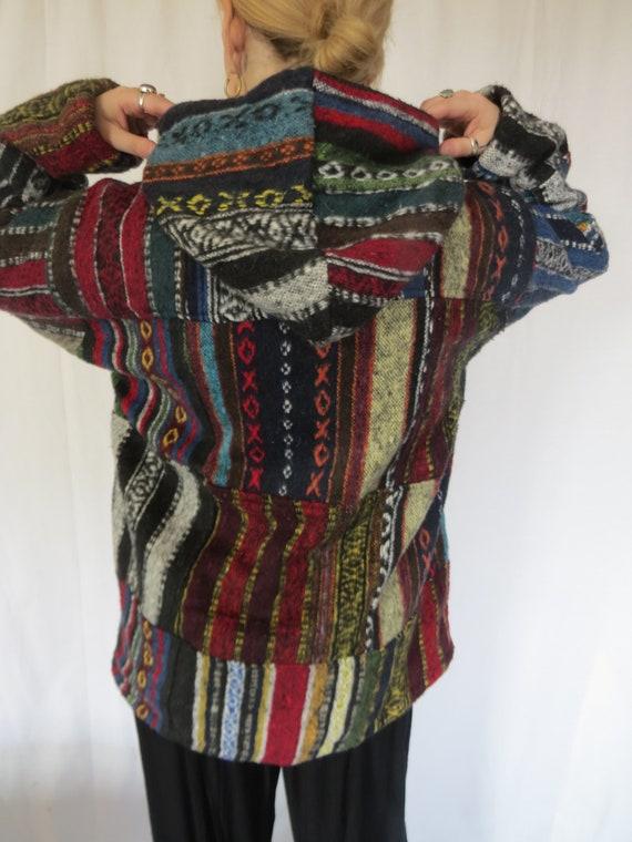 Fairtrade Wool Jacket Hoodie Coat Cardigan Fair Isle Hippy Festival Black Red XL