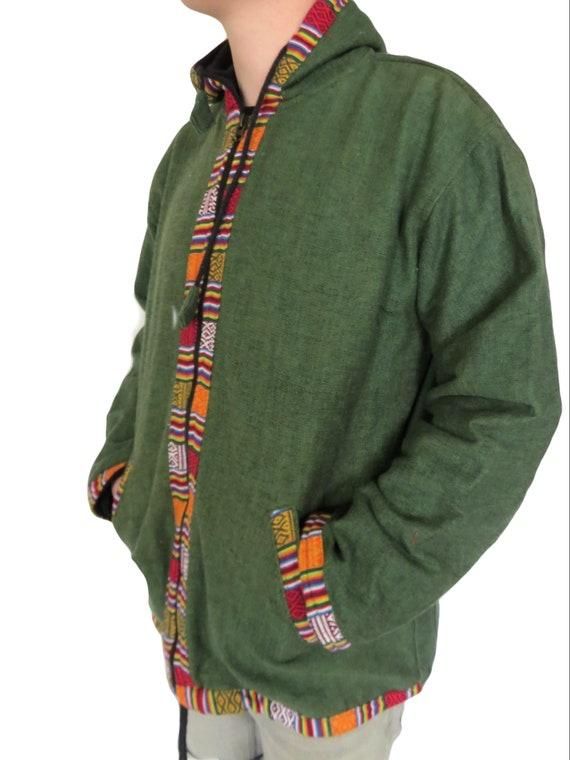 Fair Trade Dragon Blockprint Natural Cotton Fleece Lined Jacket J905