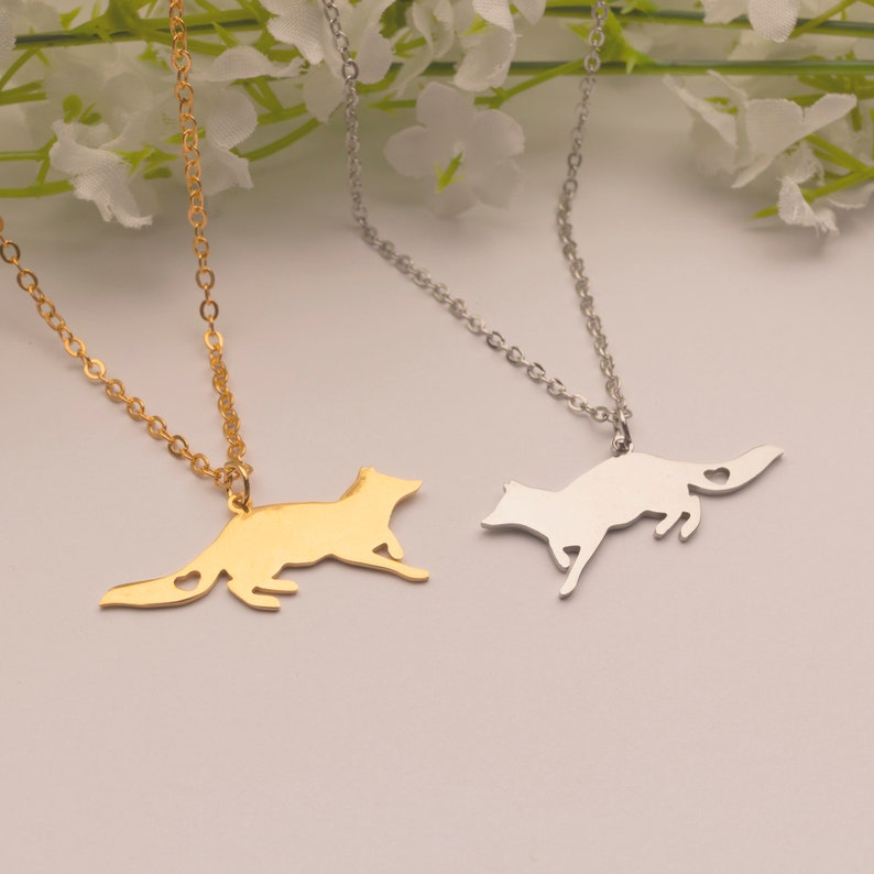 Running Fox Necklace Dainty Unique Piece in Rose Gold