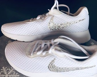 Bling women s Nike white shoes swarivski clear on swoosh ff0b8ec1a