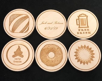 Wooden Coins Etsy
