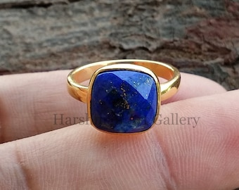 Blue Lapis Cushion Silver Ring Handmade Indian Jewelry Sterling 925 Silver Ring 10x10mm Faceted Cushion Gemstone Gold Plated Ring