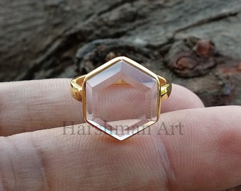 silver ring with rock crystal silver ring with crystal Statement ring gemstone jewelry wide ring rock crystal jewelry