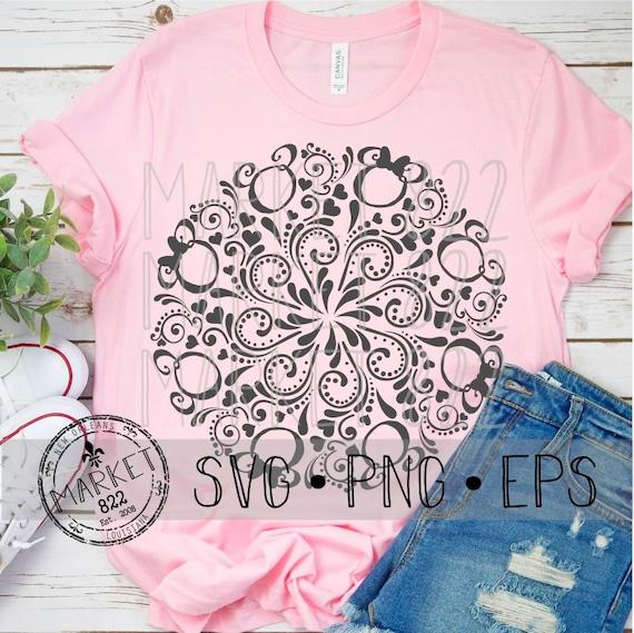 Cut Files SVG EPS Mickey and Minnie Mandala PNG Print File Disney Shirt