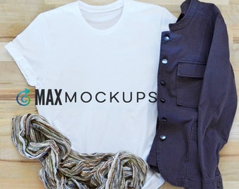 White Tshirt MOCKUP, with scarf and jacket, fall flatlay, styled stock photography, Bella Canvas display, women