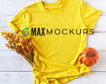 Yellow t-shirt MOCKUP, Fall or Halloween, mustard shirt flatlay shirt display, styled shirt photography, women mens teen, digital