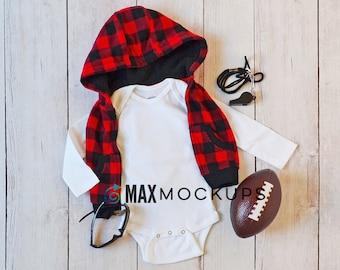 Baby bodysuit MOCKUP, white long sleeve flatlay, infant blank mock up display, football, buffalo plaid, styled stock photography image