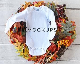 Baby bodysuit MOCKUP, Halloween fall wreath, autumn, white long sleeve flatlay, infant display, styled stock photography, baby mockup,