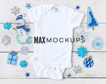 Baby bodysuit MOCKUP, Christmas, winter blues, infant flatlay display, styled stock photography, newborn, digital image