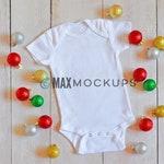 Baby bodysuit MOCKUP, Christmas ornament balls, white blank flatlay, infant display, styled stock photography, baby mockup, download