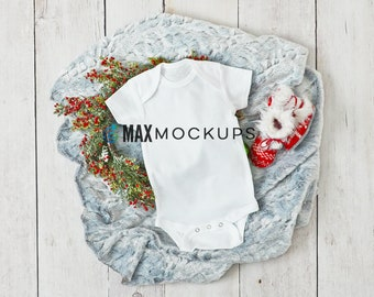 Baby bodysuit MOCKUP, Christmas holidays Winter white blank flatlay, wreath booties infant display, styled stock photography, baby mock up